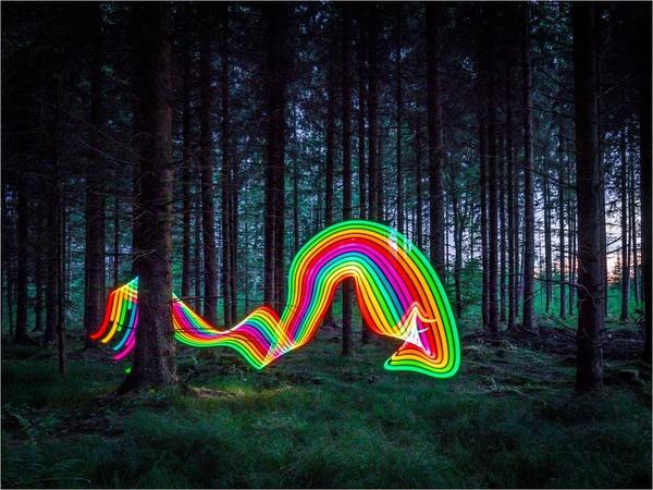 Lightpainting im Wald