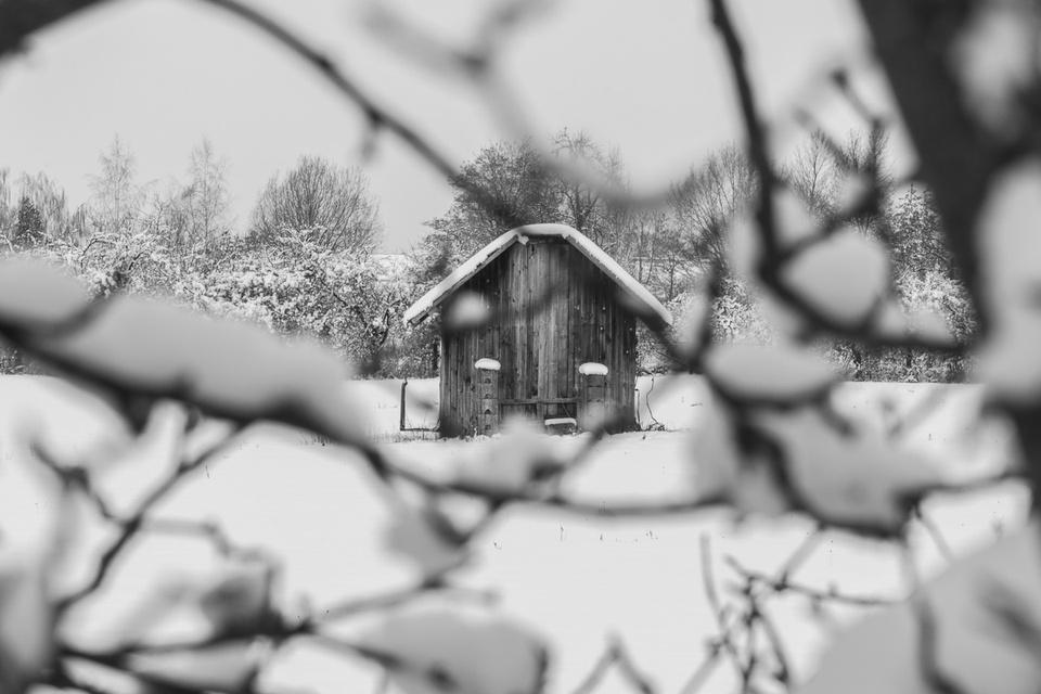 Hütte im Schnee