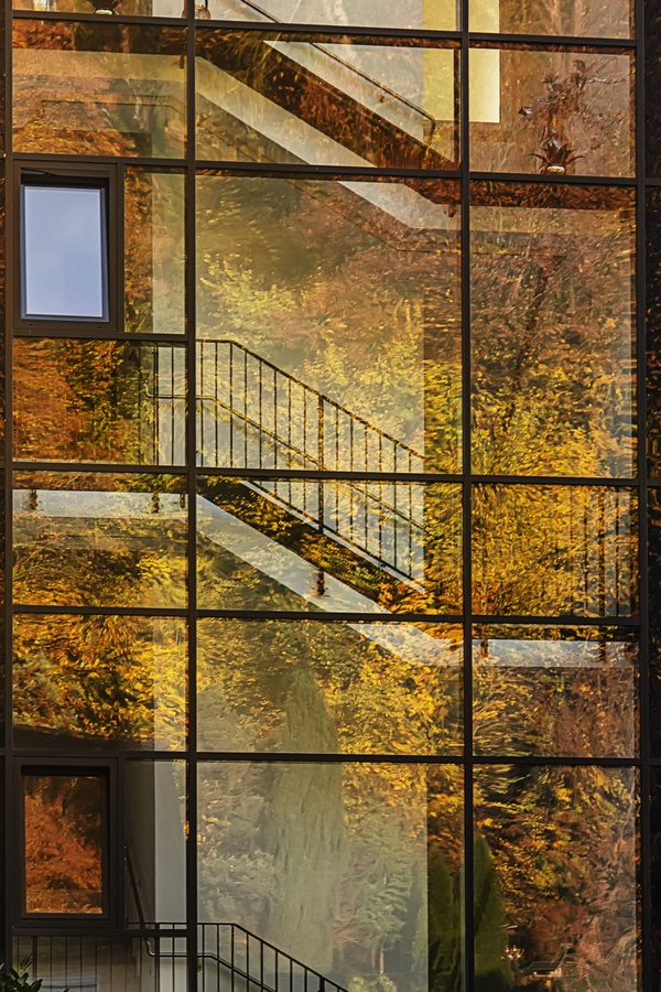 Farbiges Laub verschönert die Glasfassade