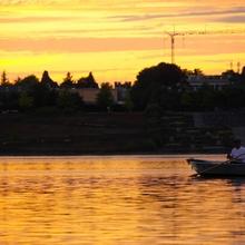 Fischerei der Sonnenuntergang