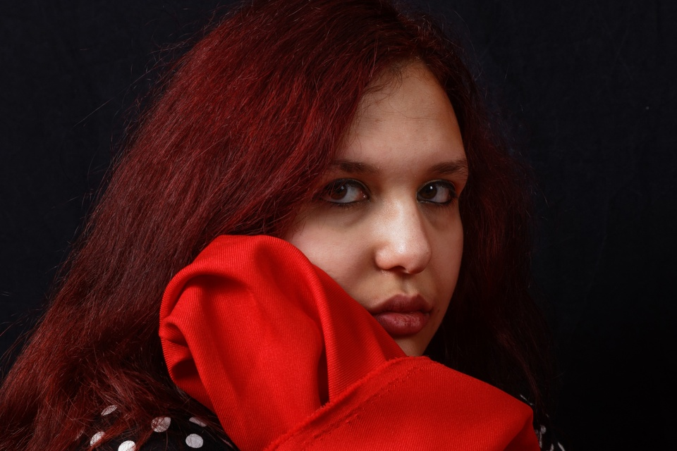 Woman with red