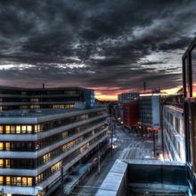 Thielenplatz bei Sonnenaufgang